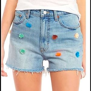 Lucky Pin Shorts in Denim with multicolour Pom Pom